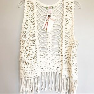 NWT Flying Tomato Cream Crochet Boho Vest Tassels